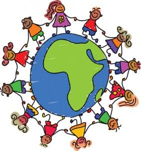 Kids on a globe.