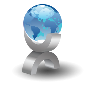 A globe being held up with a gray handle