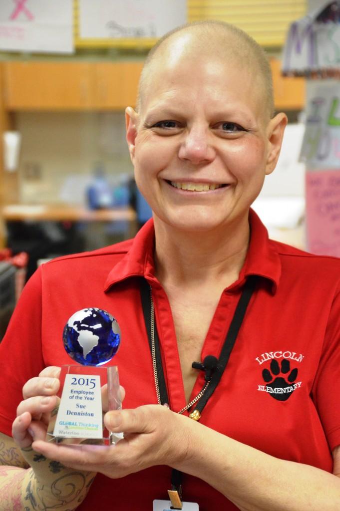 Sue Denniston receiving her award