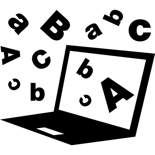 laptop with letters