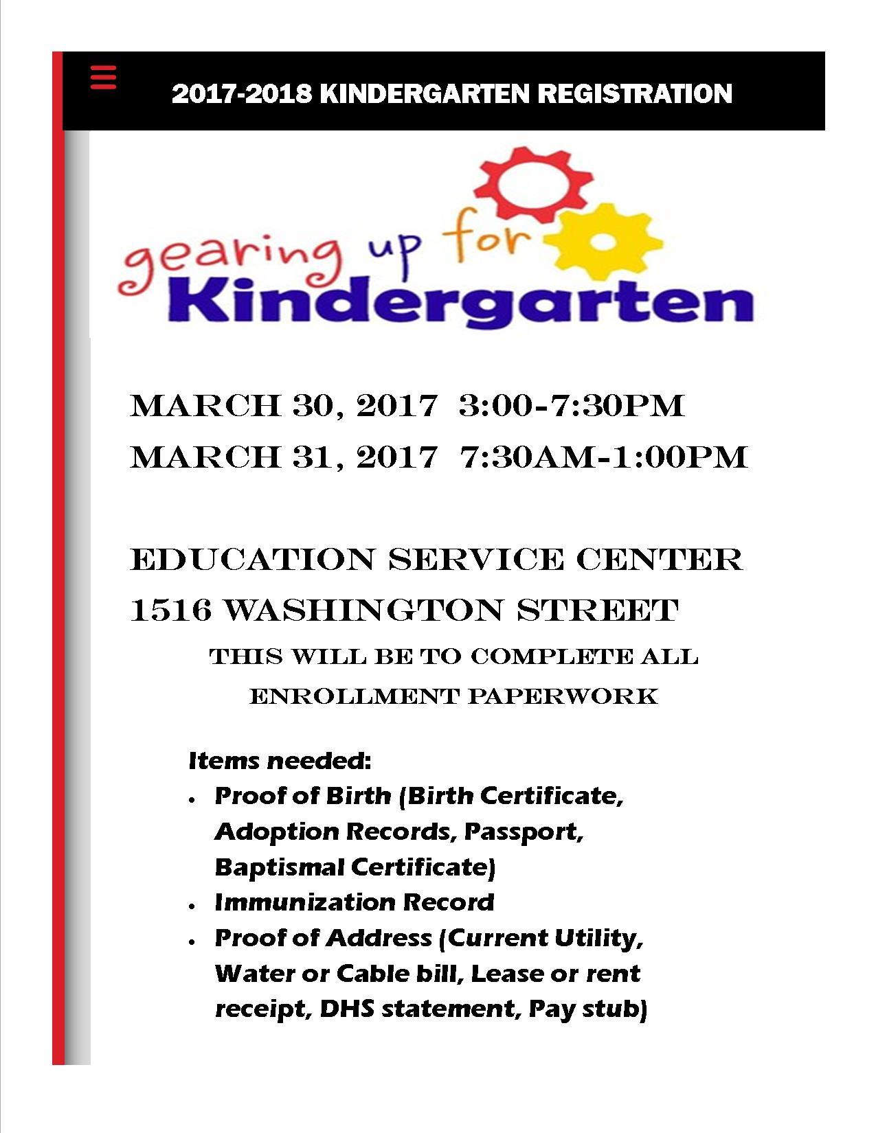 Kindergarten Enrollment Flyer
